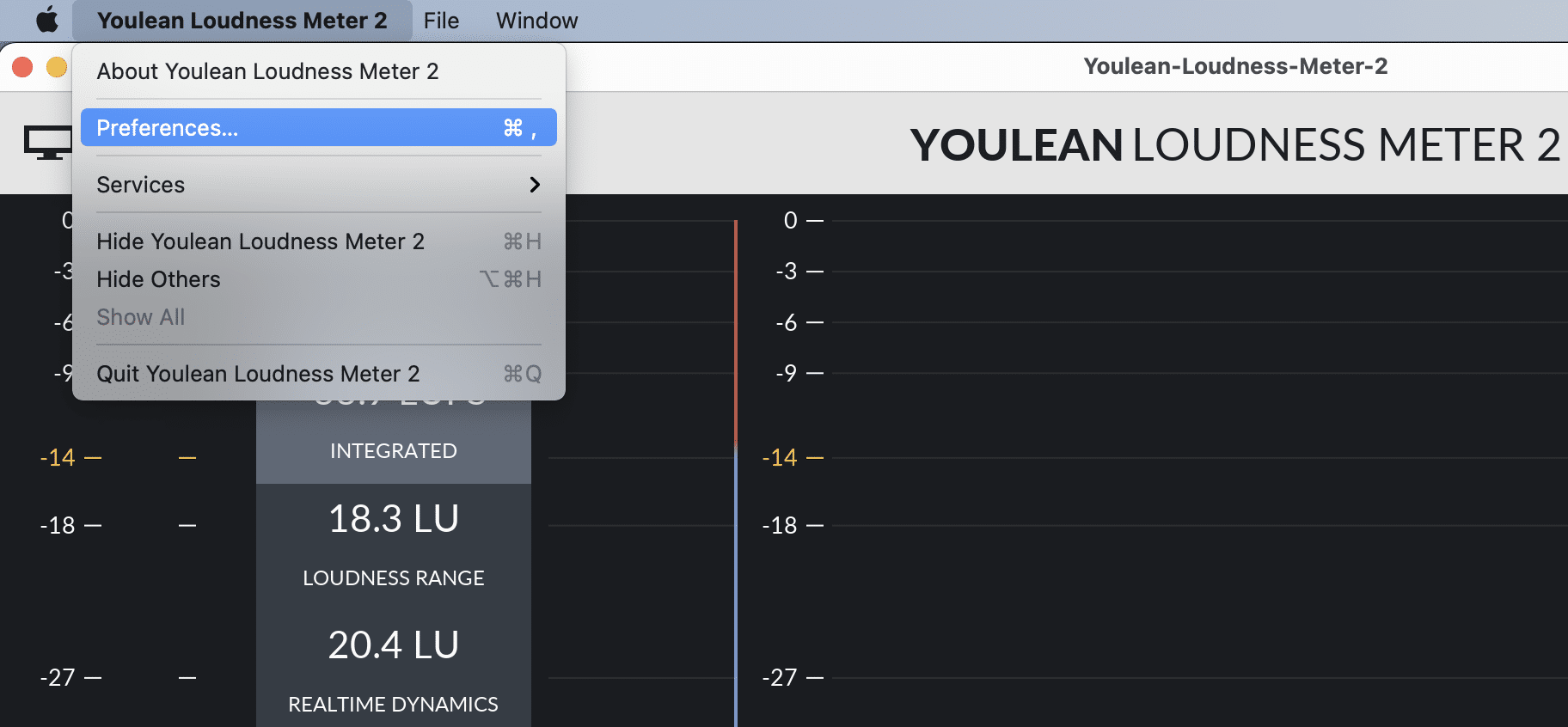 Open Youlean Loudness Meter 2 app preferences