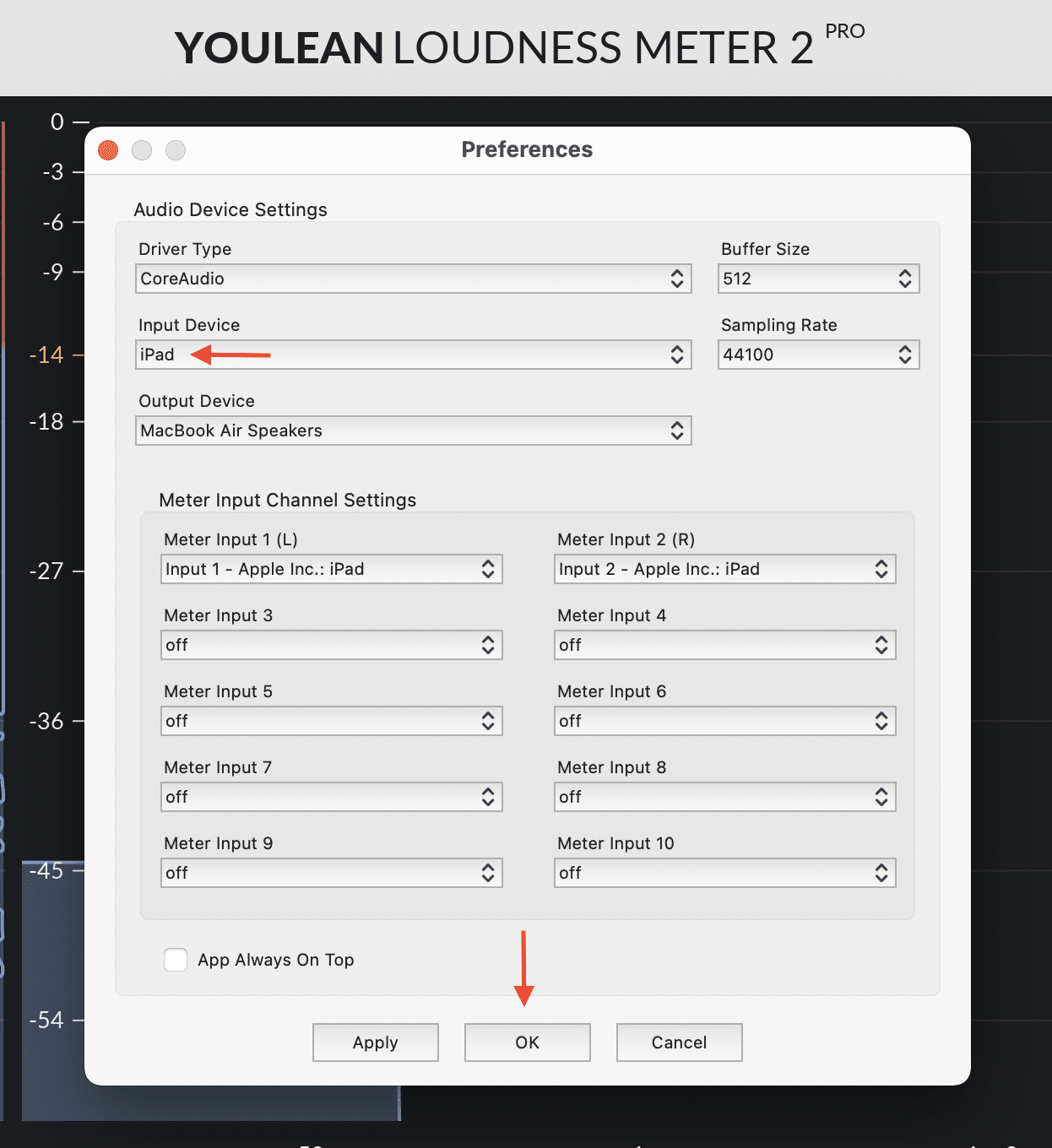 Set iPad as an input source inside Youlean Loudness Meter 2 Pro
